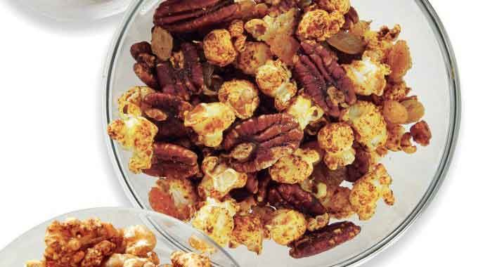 Spiced Popcorn With Peacan& Raisins.
